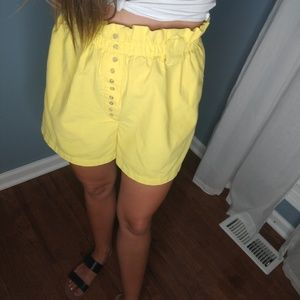 Yellow vintage cinched waist high waist shorts